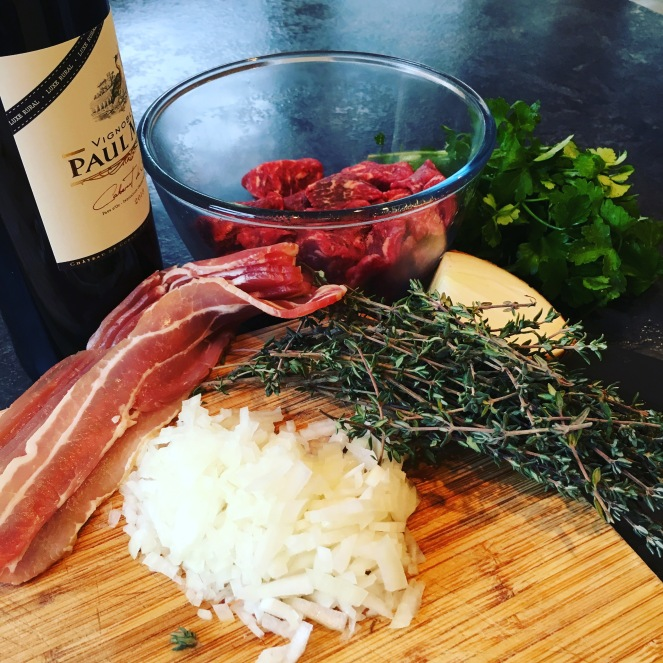 Bacon, thyme, wine